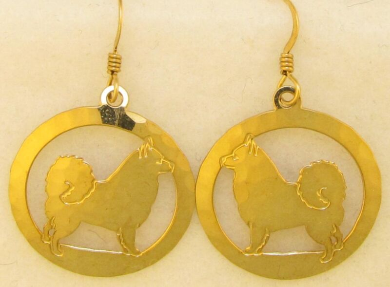 American Eskimo Jewelry Gold Earrings by Touchstone Dog Designs