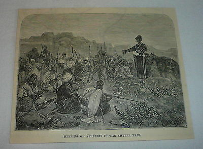 1878 magazine engraving ~ MEETING OF AFREEDIS IN THE KHYBER PASS, Afghanistan
