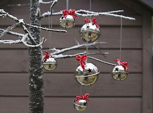 Silver-Santas-Sleigh-Bells-Jingle-Vintage-Chic-Christmas-Decoration-Xmas-Star