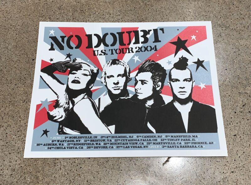 Vtg NO DOUBT Concert Tour Gwen Stefani SilkScreen Print Punk Rock Poster 15 X 12