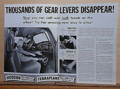 1937 double page magazine ad for Hudson - Gear Levers Disappear! auto shift