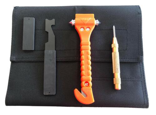 Firefighter Kit, Shove Knife, Window Seat Belt Cutter, Window punch. Tool Roll