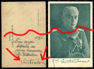 AK-Autograph-Signature-Ion Antonescu-General-Rumänien-Romania-1940-