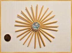 New! DollHouse Miniature Mid-Century Modern Starburst Wood Clock Wall Decor $60.