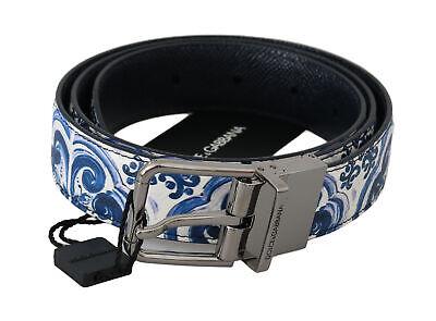 DOLCE & GABBANA Belt Majolica Blue White Leather Buckle s. 90cm / 36in RRP $450