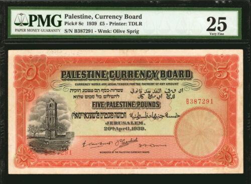 PALESTINE. Currency Board. 5 Pounds, 1939.P-8c. PMG Very Fine 25.