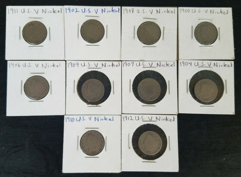 U.S. V Nickels Lot of 10. Circulated coins with full / partial dates