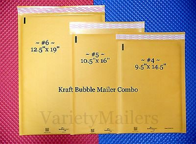 10 Kraft Bubble Envelope Variety Pack 3 Large Sizes Padded Shipping Mailers