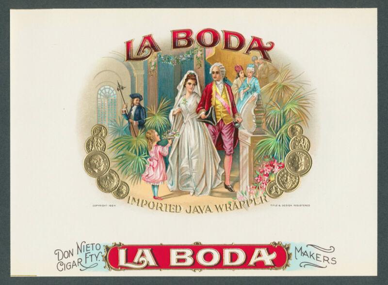 Rare Version La Boda Wedding on Original Antique Cigar Box Label Vintage Art