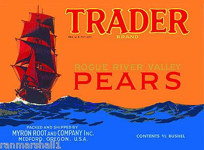 Medford Oregon Trader Sailing Ship Pear Fruit Vintage Crate Label Art Print