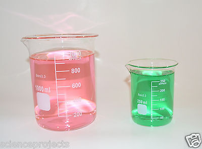 2 Beaker Sets 1000 250 Ml Griffin Graduated Borosilicate Glass Beakers New