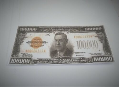 ONE SIDED $100,000 US  BANKNOTE  for display only