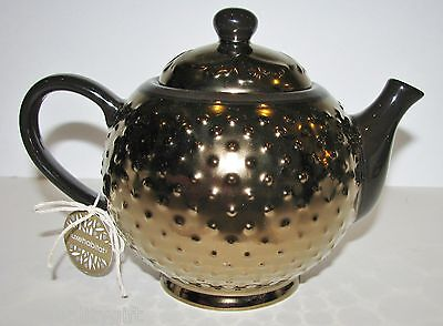 LUXEHABITAT POLKA DOT 3-D BROWN,BRONZE CERAMIC COFFEE/TEAPOT 5 CUP/40oz.-NEW