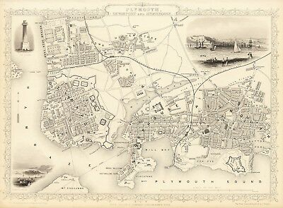 Antique Plymouth England decorative map Tallis 31,5 x 23,6 inch canvas