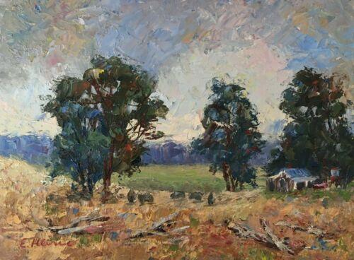 Original+Oil+Painting+Signed+Australian+Dandenongs+Artist+Enoch+Hlisic+6+x+8%22