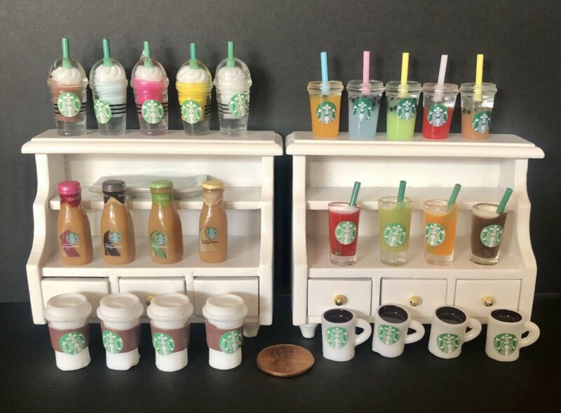 6 Pc. Starbucks Drink  Miniature Lot Littlest Pet Shop LPS LOL Free Shipping