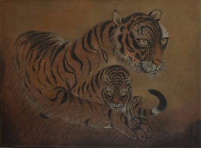 Very Fine 1940~50's Hand Painting of Two Korean Tigers on a Scroll