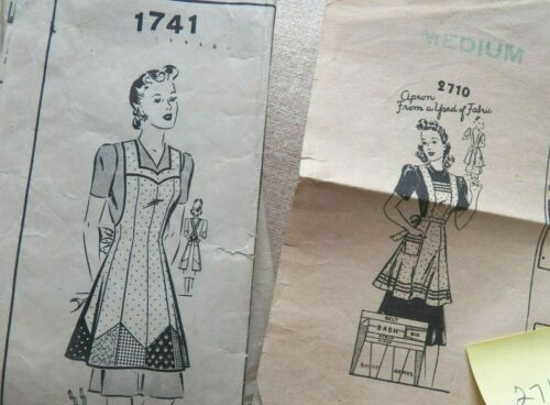 """1940s APRON  Vintage Sewing Pattern - Size 14 Bust 32"""" Hips 35"""""""
