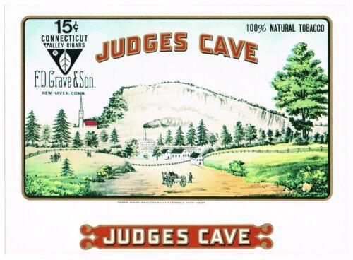 ORIGINAL CIGAR BOX LABEL VINTAGE C1960S JUDGES CAVE NEW HAVEN CONNECTICUT