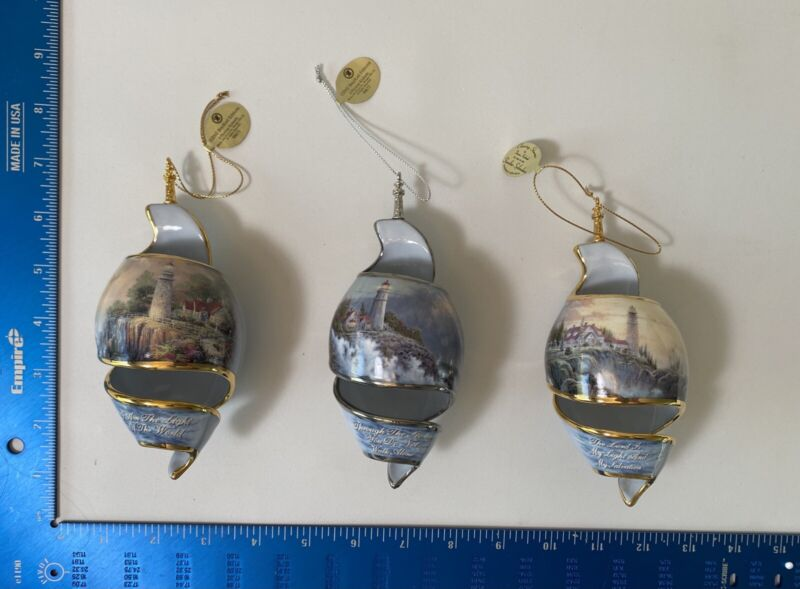 Collection Of 3 Thomas Kinkade Shoreline Splendors Ornaments Bradford Edition