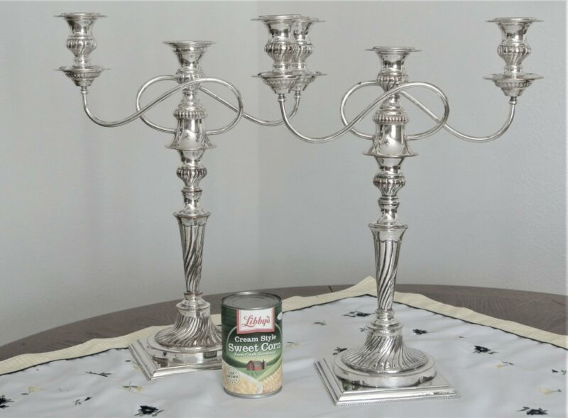 MONUMENTAL ENGLISH SILVER PLATE ON COPPER PAIR 3 LIGHTS CANDELABRA CANDLE STICKS