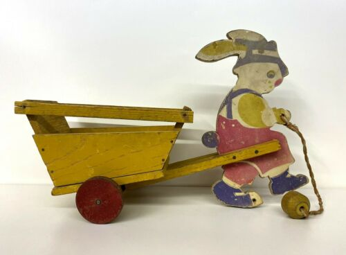 Vintage Easter Bunny Rabbit & Cart Wood Pull Toy