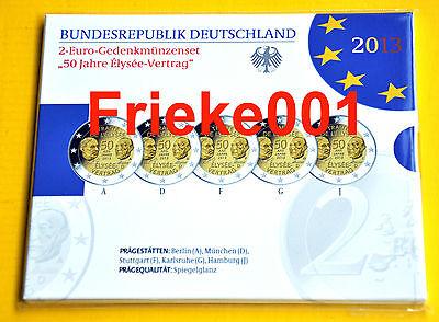 Duitsland - Allemagne - 5x 2 euro 2013 comm in blister proof.Traité De L'élysée