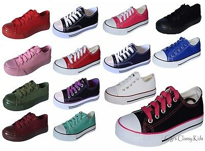 New Boys Girls Youth Classic Low Top Canvas Tennis Shoes Lace Up Sneakers Kids ](Pink Girls Shoes)
