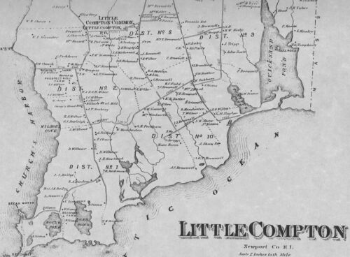 Little Compton Adamsville,  RI 1870  Maps with Homeowners Names
