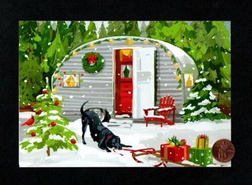 CHRISTMAS Trailer Black Labrador Dog Trees Snow Bird- Greeting Card W/ TRACKING