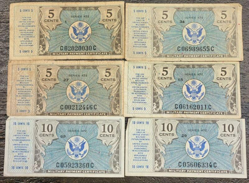 Lot of 6 US MPC Military Payment Certificate Series 472 5¢-10¢