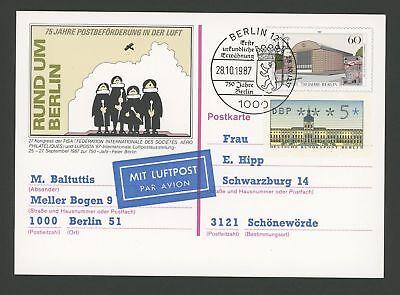 BERLIN ATM 1987 5 Pfg. portogerechte Zusatzfrankatur für Luftpost auf GA m1209