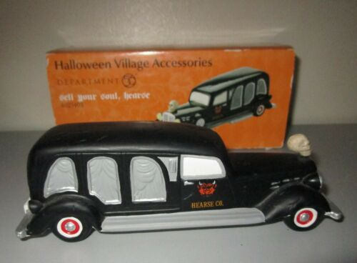 Dept 56 Halloween Snow Village SELL YOUR SOUL HEARSE 4025403 MIB Mint!