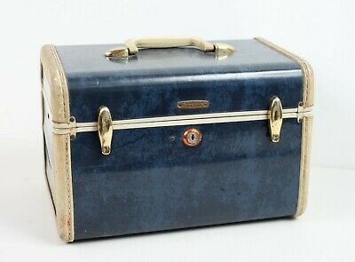 Blue MCM Samsonite Makeup Traveling Carry On Train Case Suitcase