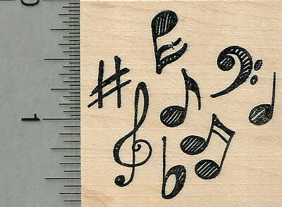 Music Stamp Series - Musical Notes Rubber Stamp, Music Series G34506 WM