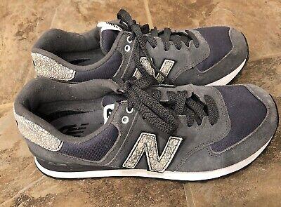 New Balance 574 Women's Sneakers Sz 8 Grey Suede/ Metallic Silver EUC