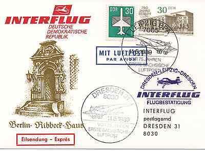 DDR GANZSACHE KATALOG B123A INTERFLUG LEIPZIG DRESDEN 11 5 1989
