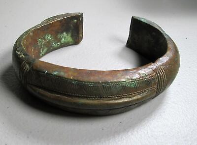 BANGEL Wood CUFF Brass Disc Insets BRACELET Chunky Rounded Wooden Vintage Tribal Wide