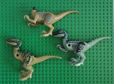 (3) Jurassic Park World Raptor Dinosaur Mini Figure lego Compatible for Parts