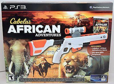 New Ps3 Cabelas African Adventures Game W Top Shot Elite Rifle Gun Bundle Set