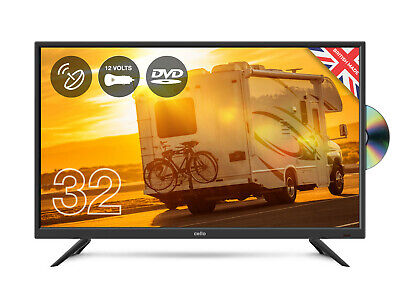 "CELLO 32"" inch 12v volt LED TV DVD & SAT FREEVIEW HD 1080P HDMI & USB CARAVAN TV"