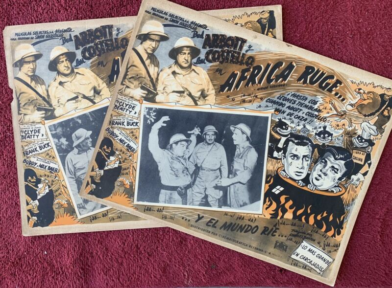 BUD ABBOTT AND LOU COSTELLO Africa Screams (2) MEXICAN LOBBY CARDS 1949
