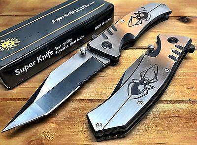 Spring Assisted Tactical Pocket Knife Spider Logo Heavy Duty Aluminum Sharp Hunt