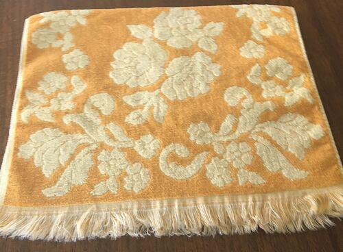 Vintage Mod Gold Yellow Floral Plush Sculpted Hand Towel MCM