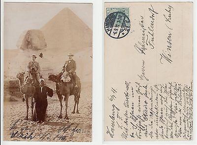 Ägypten Egypt, Reise Expedition zu den Pyramiden von Gizeh  Foto RPPC 1911