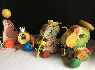 Fisher-Price 4 Vtg Pull-Toys Merry Mousewife Seal Queen Buzzy Bee Talky Parrot