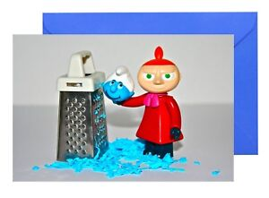 LITTLE MY BLUE CHEESE SMURF MOOMIN GREETINGS CARD FUNNY HUMOUR BIRTHDAY