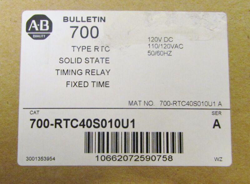 ALLEN BRADLEY Type RTC Timing Relay 110-120 VAC 120 VDC 700 RTC40S010U1