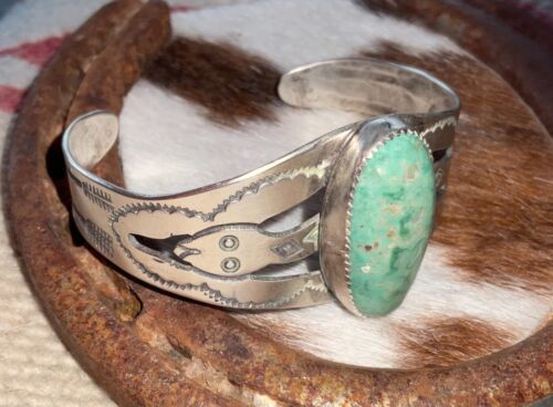 Old - Rattlesnake, Navajo, Sterling Cuff, Lg. Rare, Evans Turquoise Cab., Arrows