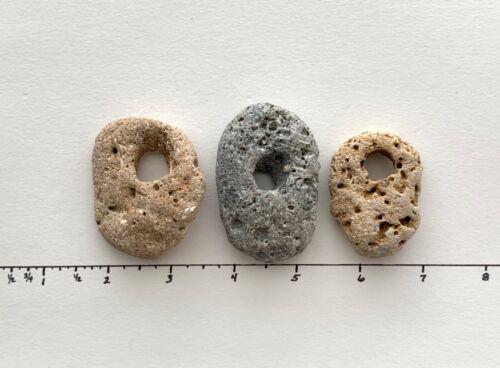 """3 Natural Holey Beach Rocks large 3/8"""" Hole Hag Fairy Stones Wish Magic #3E USA"""